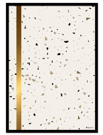 Terrazzo 01 poster |Minimalistic print with gold detail on brown and beige terrazzo background.