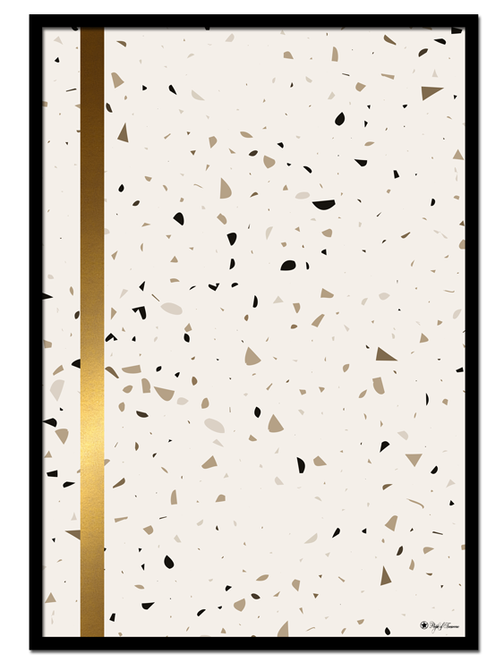 Terrazzo 01 poster | Minimalistic print with gold detail on brown and beige terrazzo background.