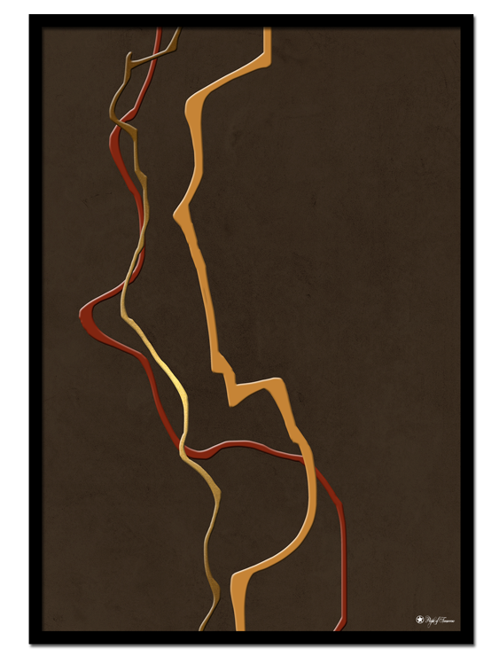 Warm Paths poster | Abstract print with warm colored paint strokes on a brown textured background.