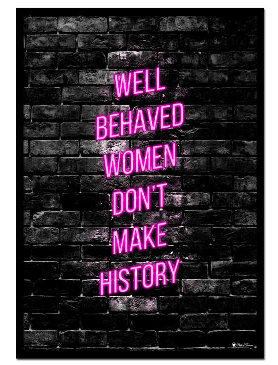 Don't Behave poster | Give your walls some girl power with this pink neon text poster, and let your home reflect the rebellious woman in you!