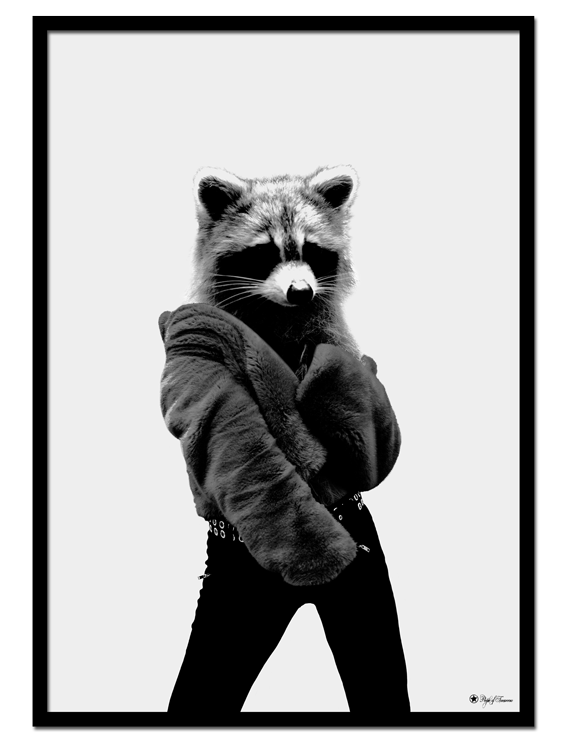 Racoonista poster | Fashion is for everyone, right? Bring life to your walls with this surreal art print of a racoon.