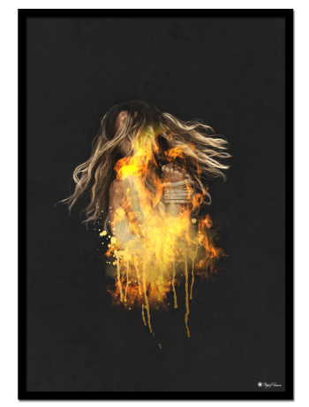 Burning poster | Bring fire to your walls (literally) with this hot art print! This art print looks better the bigger size you choose!