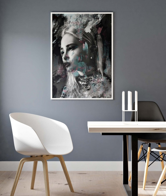 Ice Queen poster | Abstract art print made from acrylic paint with digital modifications. Shop unique interior posters online!