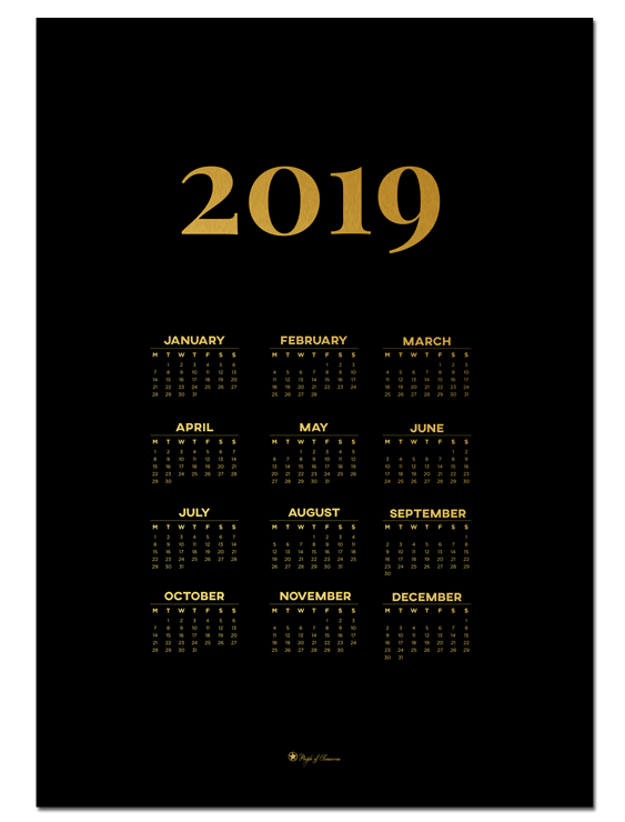 Calendar 2019 – Gold poster |Decorate with a poster that is both practical and minimal. Calendar for 2019 is perfect for your walls in the kitchen or office!