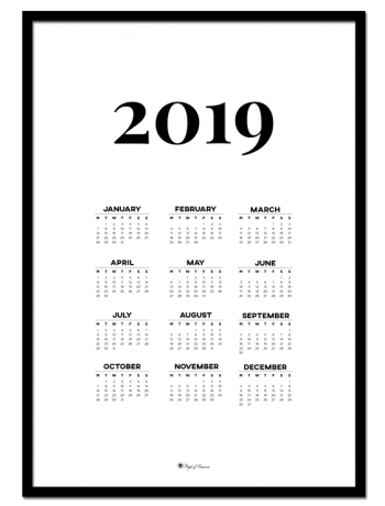 Calendar 2019 – White poster | Decorate with a poster that is both practical and minimal. Calendar for 2019 is perfect for your walls in the kitchen or office!