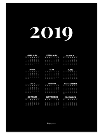 Calendar 2019 – Black poster | Decorate with a poster that is both practical and minimal. Calendar for 2019 is perfect for your walls in the kitchen or office!
