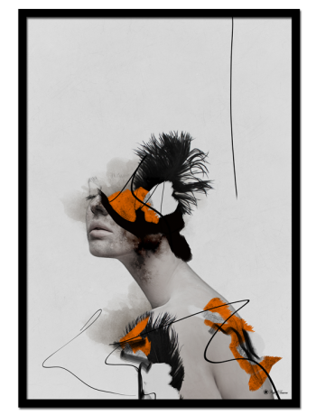 Daydreaming poster | Creative art print of a woman with black, white and orange colors.