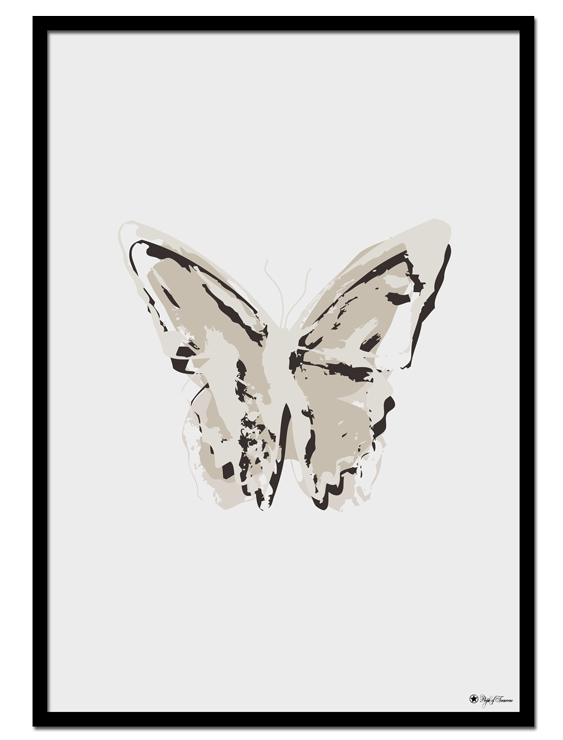 Nude Butterfly poster |Abstract butterfly art print in smooth, nude colors. Will be perfect in a nordic styled home.