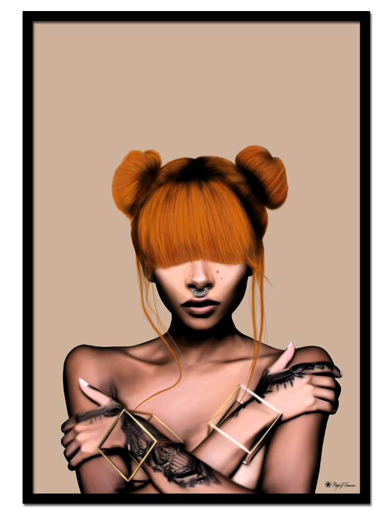 Sweet Inferno poster | Cute hair, firey colors. This art print will definitely make a statement on your walls.