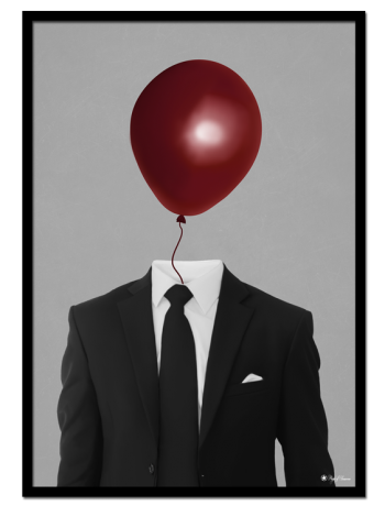 Balloon Man poster | Make your walls interesting with this poster of a suited man with a red balloon instead of a head.