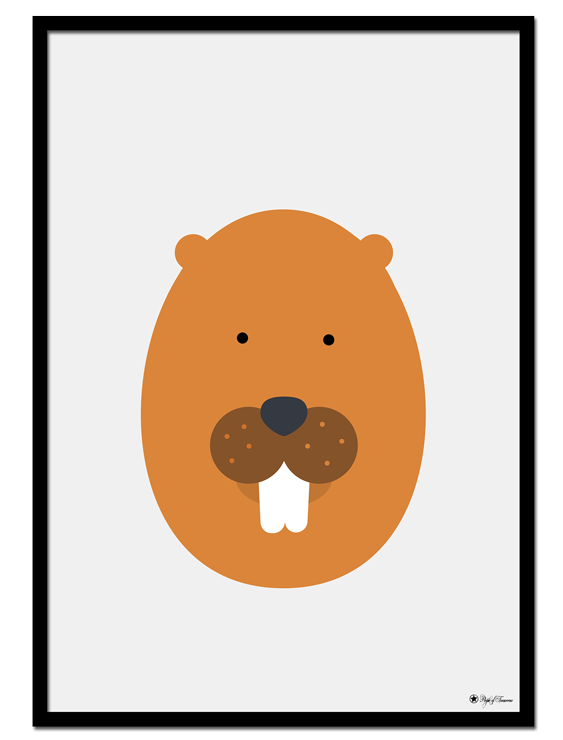 Beaver Egghead poster | Explore our wall art for the youngsters! Decorate the kids room with cute and playful posters from our Kids Collection!