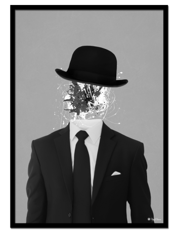 Bowler Man poster | Interesting poster of a man in a suit wearing a bowler hat. Decorate your walls with unique posters & art prints.