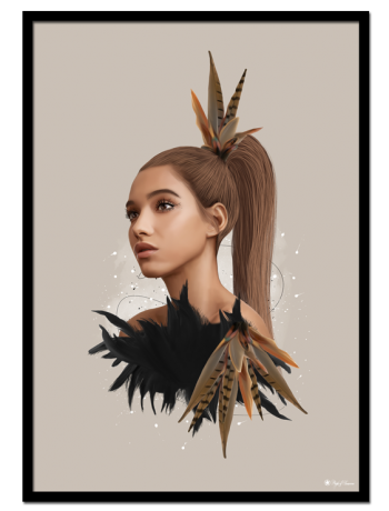 Farrah poster | Cute Farrah with colorful feathers. Beautiful art print in a gorgeous color set.