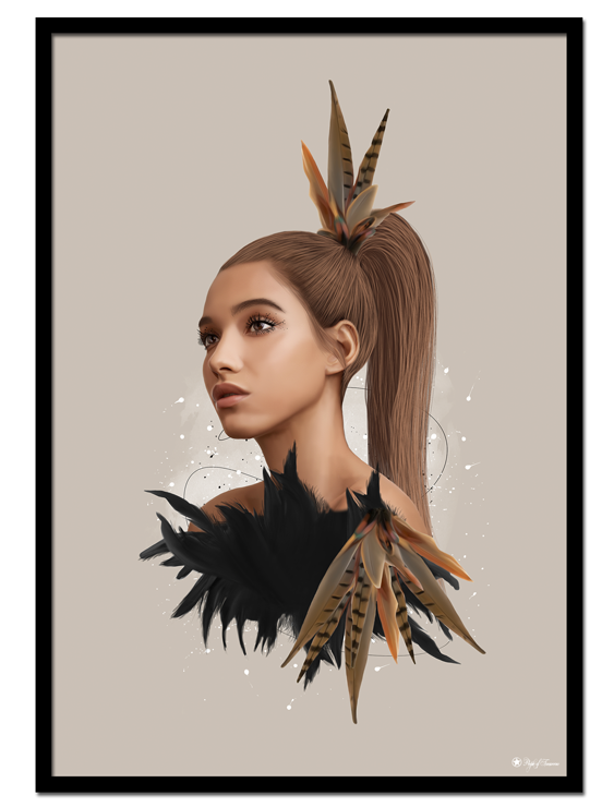 Farrah poster |Cute Farrah with colorful feathers. Beautiful art print in a gorgeous color set.