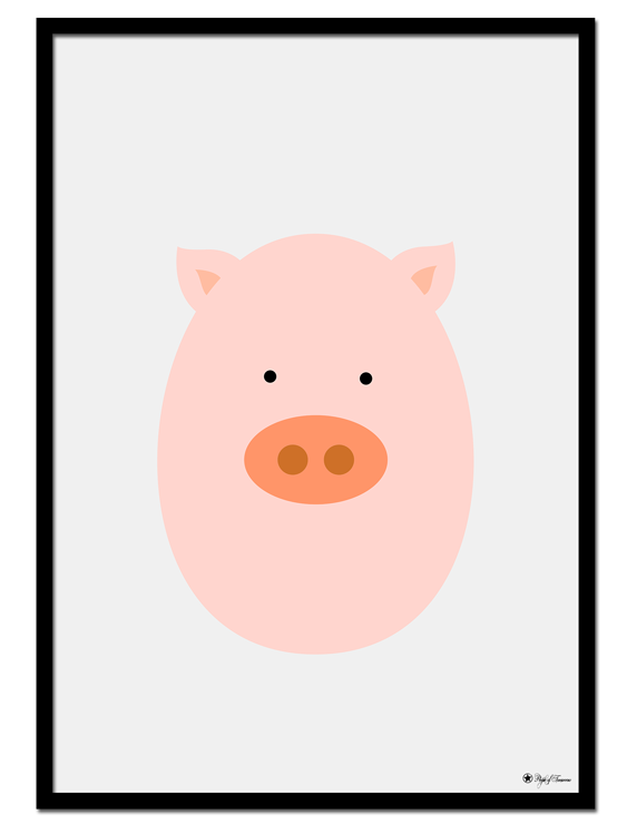 Pig Egghead poster | Explore our wall art for the youngsters! Decorate the kids room with cute and playful posters from our Kids Collection!