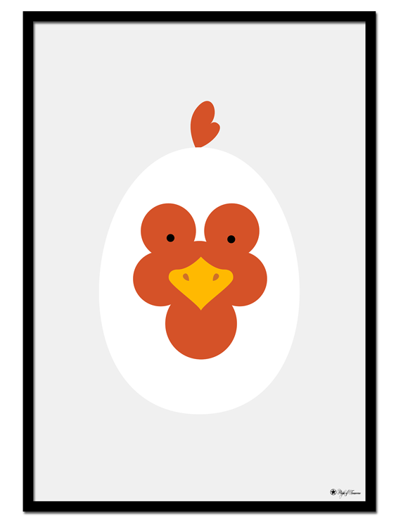 Rooster Egghead poster | Explore our wall art for the youngsters! Decorate the kids room with cute and playful posters from our Kids Collection!
